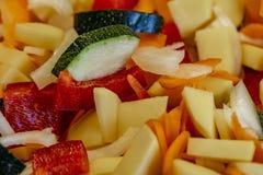 为进一步处理切开和混合的未加工的新鲜蔬菜 免版税库存照片