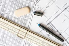 为速写和计划的工具 免版税库存照片