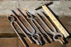 为铁匠的工具 免版税库存图片