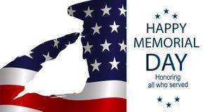 为阵亡将士纪念日任命向美国旗子致敬的剪影军官 免版税库存照片