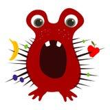 为难的逗人喜爱的绯红色小妖怪用果子在它的钉捉住了 传染媒介EPS 10 免版税库存照片