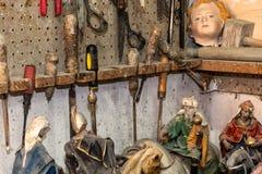 为雕塑和雕象的艺术家工具 库存照片