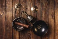 为音乐凝思的Tibetian仪器 图库摄影
