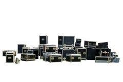 为音乐有关的运输隔绝的设备条板箱 库存照片