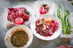 为食物切的生肉 免版税库存照片