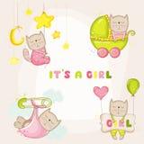 为婴儿送礼会或婴孩更改地址通知单设置的-女婴猫 库存图片
