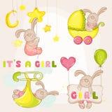 为婴儿送礼会设置的-婴孩兔宝宝 免版税库存图片