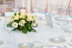 为结婚宴会布置的表 免版税图库摄影