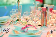 为结婚宴会布置的表 图库摄影