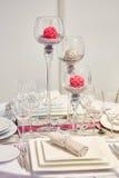 为结婚宴会布置的表 免版税库存图片