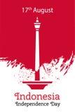 为8月17日印度尼西亚在平的样式的独立日导航例证在难看的东西背景 著名独立报广场纪念碑 免版税库存照片