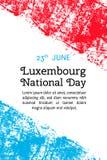 为6月23日在难看的东西样式的卢森堡天导航例证 设计海报的,横幅, flayer,问候,邀请汽车模板 库存照片