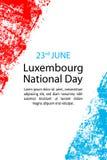 为6月23日在难看的东西样式的卢森堡天导航例证 设计海报的,横幅, flayer,问候,邀请汽车模板 免版税库存图片