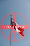 为巴黎标志祈祷 免版税库存照片