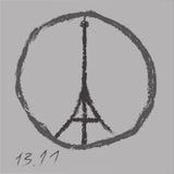为巴黎祈祷 由徒手画的活性炭的艾菲尔铁塔商标 2015年11月13日 为法国祈祷 和平 没有战争 向量 皇族释放例证