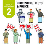 为infographics设置# 2 :抗议者,暴乱,警察 免版税库存照片