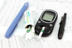 为insulinotherapy的基本的工具 免版税库存照片