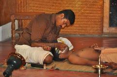 为Kathakali表现做准备 图库摄影