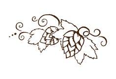 为oktoberfest或感恩天导航与叶子和藤概述例证的啤酒花球果树 库存图片