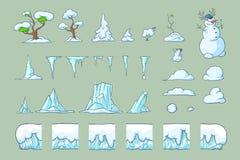 为Platformer比赛设置的冬天瓦片,无缝的传染媒介地面阻拦游戏设计 免版税图库摄影