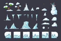 为Platformer比赛设置的冬天瓦片,无缝的传染媒介地面阻拦游戏设计 免版税库存图片