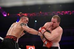 为WBO洲际的次重量级冠军的把装箱的战斗 库存图片