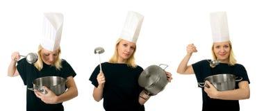 主厨三张相联妇女 库存照片