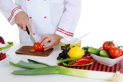 主厨剪切蔬菜 免版税库存图片