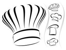 主厨帽子图标集合剪影向量 免版税库存图片