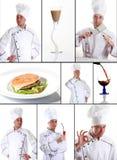主厨收集食物 免版税库存图片