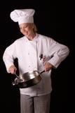主厨煎锅匙子 免版税库存图片
