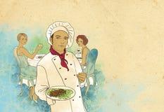 主厨等待女孩的餐馆二 免版税图库摄影
