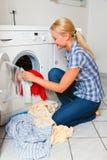 主妇洗涤物 库存照片