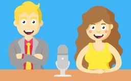 主持人和女孩有话筒的在桌上,在电视节目 皇族释放例证