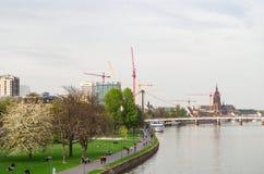 主要散步在法兰克福、Holbeinsteg桥梁和皇家大教堂在背景中 法兰克福,德国- 2014年4月1日 免版税图库摄影