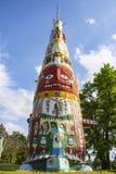 主要标识杆在爱德Galloways标识杆公园近路线66特色的美国本地人和民间艺术Foyil俄克拉何马美国5 12 2018年 图库摄影