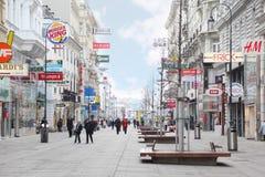 主要步行街道Kartner Strasse 免版税库存照片