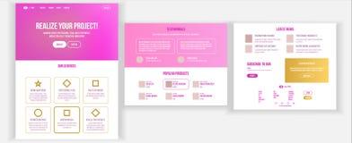 主要网页设计传染媒介 网站企业现实 着陆模板 创造性的项目 信息工具 合作伙伴 向量例证