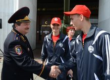 主要董事会的第一副首领俄罗斯联邦L的内务部的公路交通安全的 库存照片