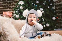 主题儿童圣诞节新年 白种人矮小的滑稽的男婴1温暖年坐的雪橇熊皮肤圣诞树的头 库存图片