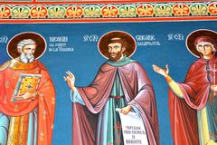 主题正统象 圣徒安娜Rohia修道院,位于在一个自然和被隔绝的地方,在Maramures,特兰西瓦尼亚 免版税库存照片