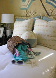 主题海滩的卧室 库存照片