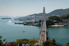 丽水港口和Dolsan桥梁 库存照片