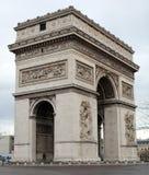 举世闻名的地标凯旋门在日出期间的巴黎法国图片的没有人民 免版税图库摄影