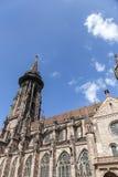 举世闻名的弗莱堡曼斯特大教堂, mediev主要塔  库存照片