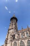 举世闻名的弗莱堡曼斯特大教堂, mediev主要塔  库存图片