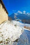举世闻名的格律耶尔城堡的墙壁 库存照片