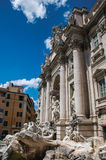 举世闻名的Trevi喷泉概要在罗马 免版税库存照片
