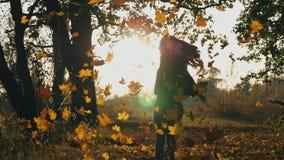 举她的手和享用落的秋叶的可爱的妇女 显示与日落的愉快的女孩快乐的情感在 影视素材