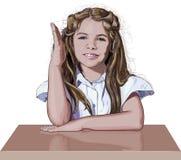 举她的手的女小学生 库存照片